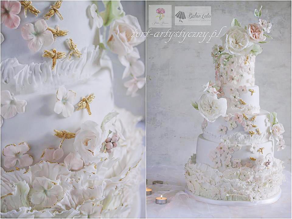 Tort weselny w małe kwiaty białe Warszawa