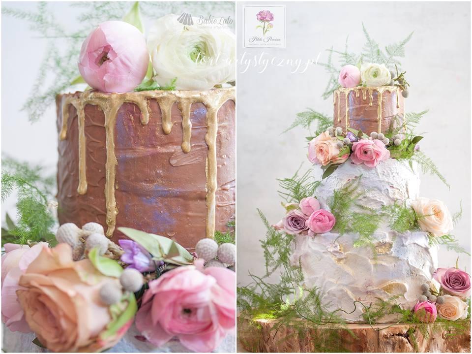 Dripcake brązowo-biały z żywymi kwiatami