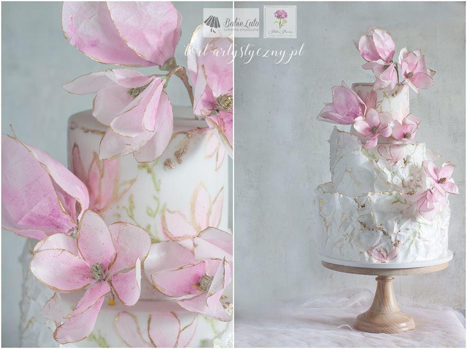 Piękny tort na zamówienie - biało różowy